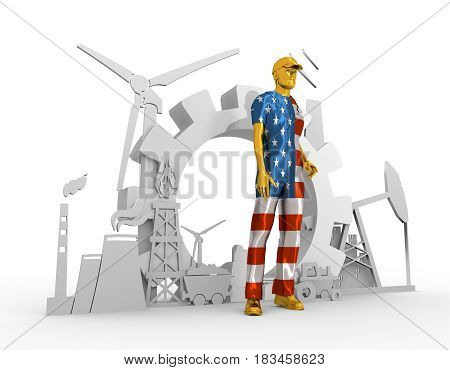 Young man wearing apron textured by USA flag. Bearded worker at industrial isometric icons set. 3D rendering. Metallic material. Energy generation and heavy industry.