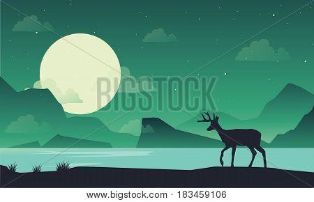 Silhouette of deer on lake at night scenery illustration