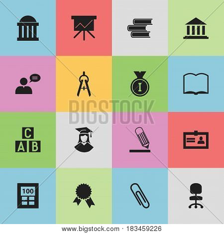 Set Of 16 Editable Graduation Icons. Includes Symbols Such As Staple, Thinking Man, Book And More. Can Be Used For Web, Mobile, UI And Infographic Design.