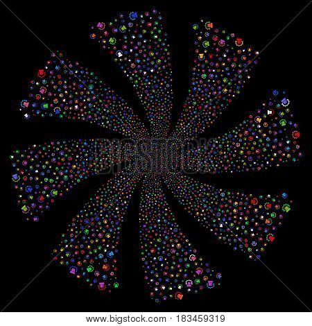 Alarm fireworks swirl rotation. Vector illustration style is flat bright multicolored iconic symbols on a black background. Object spiral constructed from random pictographs.