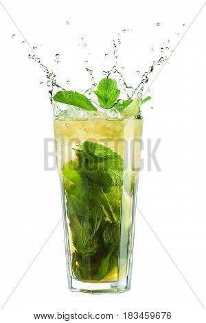 Mojito cocktail splash on a white background