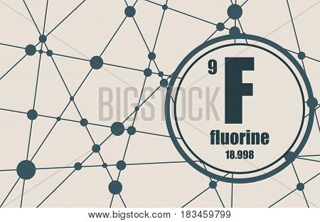Fluorine chemical element. Sign with atomic number and atomic weight. Chemical element of periodic table. Molecule And Communication Background. Connected lines with dots.