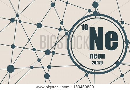 Neon chemical element. Sign with atomic number and atomic weight. Chemical element of periodic table. Molecule And Communication Background. Connected lines with dots.