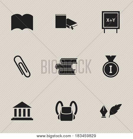 Set Of 9 Editable Graduation Icons. Includes Symbols Such As Dictionary, Museum, Literature And More. Can Be Used For Web, Mobile, UI And Infographic Design.