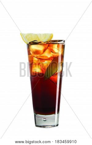 Cocktail with cola and ice cubes on white background