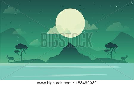 Lake scenery with mountain silhouette vector illustration