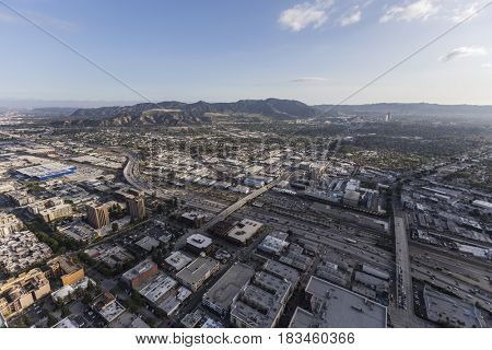 Aerial view of downtown Burbank and the 5 Freeway near Los Angeles, California.