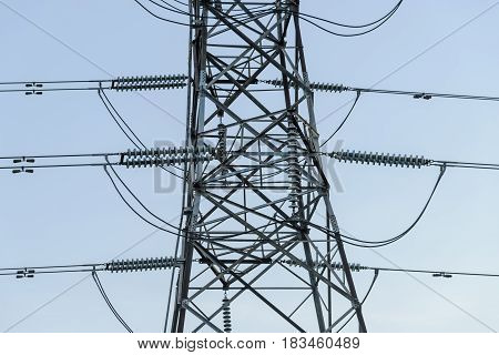 High voltage tower Electricity transmission power lines