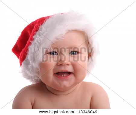 Baby child in a Christmas hat