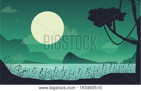 Vector art scenery lake at the night collection