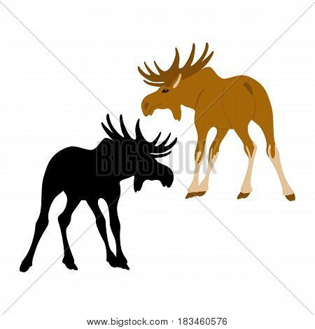 moose  vector illustration style Flat silhouette black