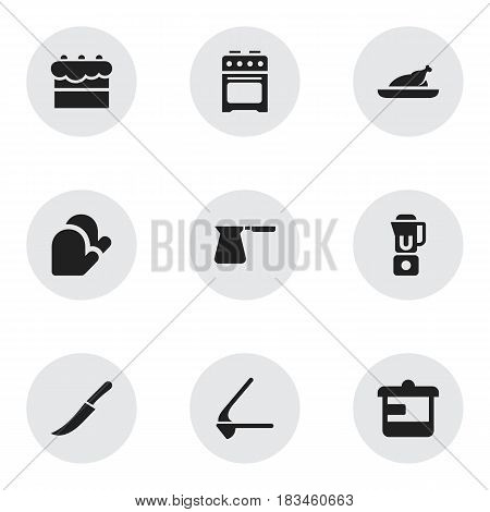 Set Of 9 Editable Food Icons. Includes Symbols Such As Sword, Kitchen Glove, Coffee Pot And More. Can Be Used For Web, Mobile, UI And Infographic Design.