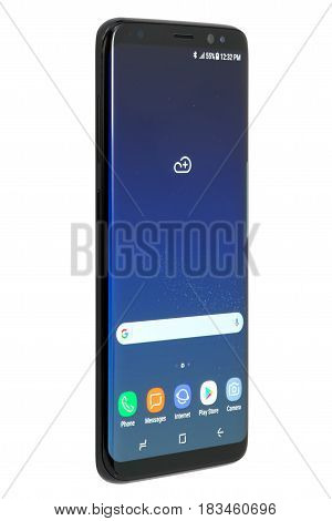 Koszalin, Poland - 25 April, 2017: Black Samsung Galaxy S8 on white background. Samsung S8 are new generation smartphone from Samsung. The Samsung S8 is smart phone with multi touch screen