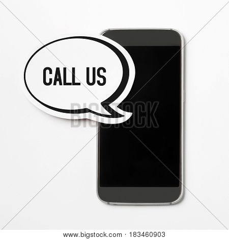 Call us text in a speech bubble with a smartphone. Speech balloon cut from cardboard. Customer care and hotline button, icon or banner for website, social media or brochure with a white paper background.