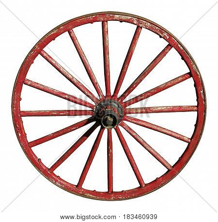 Antique wagon wheel with wooden spokes and rim painted red.