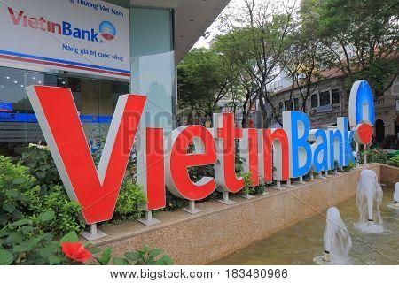 HANOI VIETNAM - NOVEMBER 30, 2016: Vietinbank. Vietinbank is a state-owned Vietnamese bank founded in 1991.