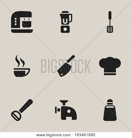 Set Of 9 Editable Cook Icons. Includes Symbols Such As Hand Mixer, Backsword , Meat Grinder. Can Be Used For Web, Mobile, UI And Infographic Design.