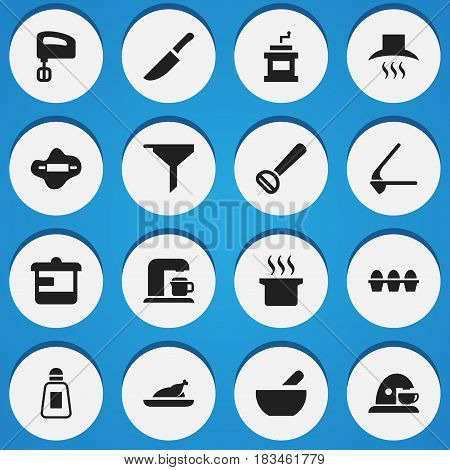 Set Of 16 Editable Food Icons. Includes Symbols Such As Soup Pot, Mocha Grinder, Cup And More. Can Be Used For Web, Mobile, UI And Infographic Design.
