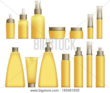 Realistic yellow Cosmetics bottles set on white background. Cosmetic cream containers and tubes for cream, lotion and shampoo, gel and balsam in yellow colors. Vector Illustration