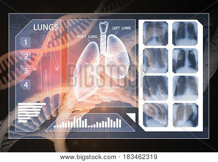 Media medicine background image as DNA research concept. 3D rendering