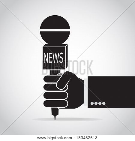 Hand holding microphone icon interview answering question Hand holding microphone icon journalist concept