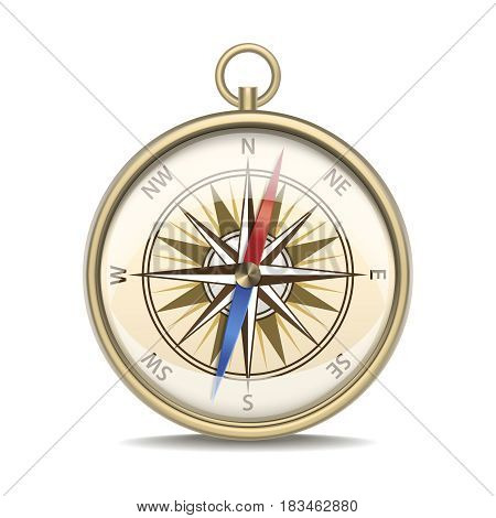 Realistic Detailed Metal Compass with Windrose Old Style Equipment Navigation Isolated on a White Background. Vector illustration