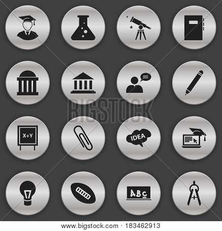 Set Of 16 Editable University Icons. Includes Symbols Such As Courtroom, Thinking Man, Mind And More. Can Be Used For Web, Mobile, UI And Infographic Design.