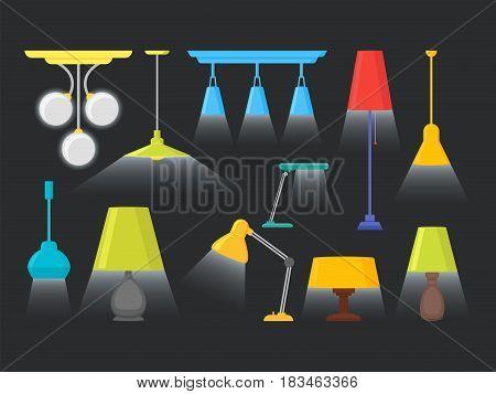 Cartoon Home Illumination Lamp Color Set on a Black Background Flat Style Design Elements for Interior. Vector illustration