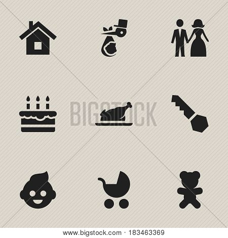 Set Of 9 Editable Kin Icons. Includes Symbols Such As Toy, Home, Patisserie And More. Can Be Used For Web, Mobile, UI And Infographic Design.