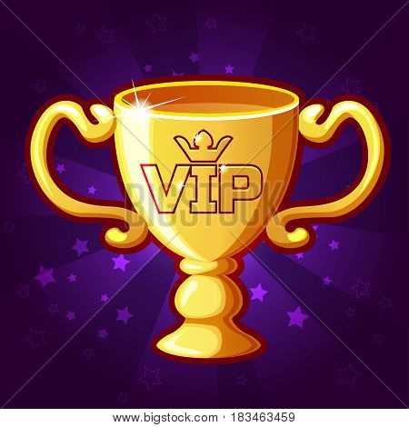 vector Golden VIP Trophy Cup, background glow, set 7