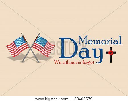 Illustration of set of elements USA Flag cross and flower with text memorial day