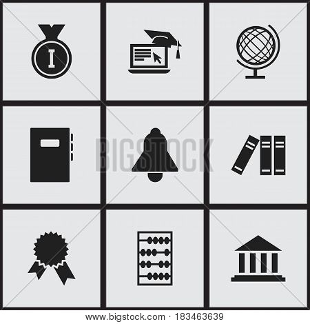 Set Of 9 Editable Education Icons. Includes Symbols Such As Earth Planet, Distance Learning, Museum And More. Can Be Used For Web, Mobile, UI And Infographic Design.