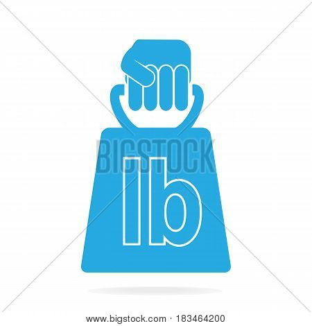 Hand holding with weight icon blue illustration
