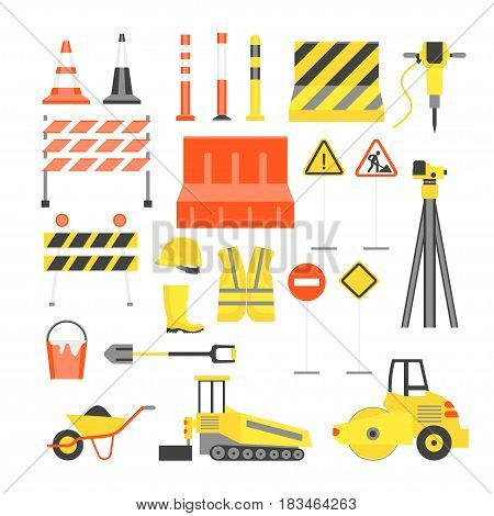 Cartoon Road Construction Color Icons Set Flat Style Design Elements Transportation, Equipment and Street Sign. Vector illustration