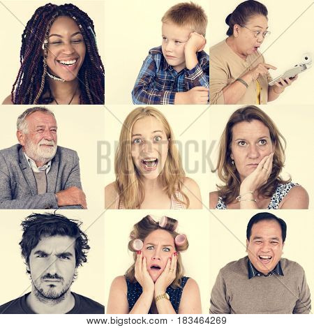Diversity people set emotional on white background