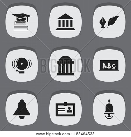 Set Of 9 Editable Science Icons. Includes Symbols Such As Museum, Literature, School Board And More. Can Be Used For Web, Mobile, UI And Infographic Design.