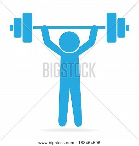 Man lifting weight icon sport sign illustration
