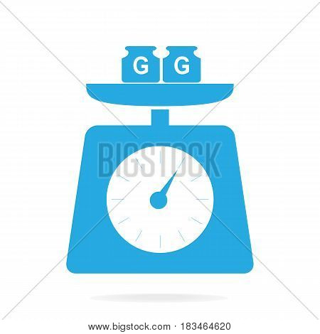 Blue weight scale icon symbol vector illustration