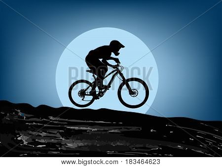 Silhouette of the cyclist riding down the on the background of the big moon - vector illustration