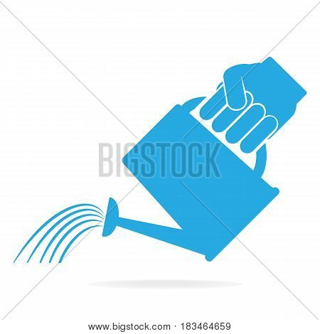 Hand holding with watering can for cultivation icon