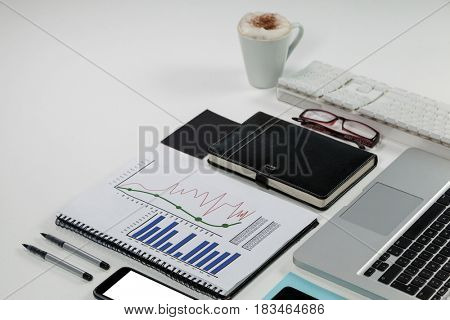 Laptop, coffee mug, smartphone, business graph and office desk tops on white background