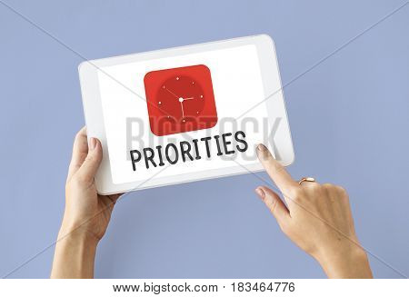 Priorities red analog alarm clock icon