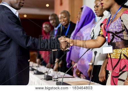 Hands Shake Agreement Diversity Conference Partnership