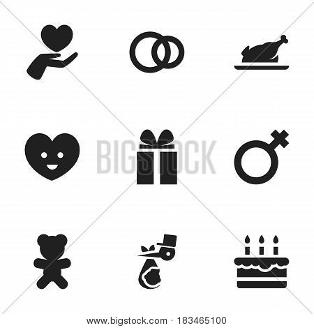 Set Of 9 Editable Kin Icons. Includes Symbols Such As Hoop, Child, Soul And More. Can Be Used For Web, Mobile, UI And Infographic Design.