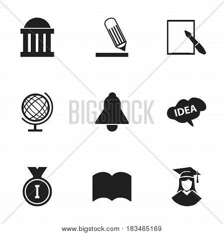 Set Of 9 Editable Education Icons. Includes Symbols Such As Notepaper, Mind, Bell And More. Can Be Used For Web, Mobile, UI And Infographic Design.