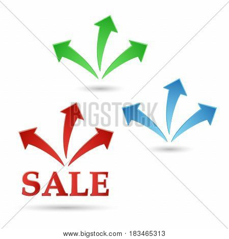 The red and green Badge of sales. Fireworks discounts.  Sale the text - color vector icon.