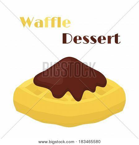 Belgian waffle with chocolate, tasty breakfast in cartoon flat style. Restaurant meal.