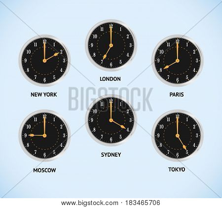 Wall clocks showing local times. Time zones cities New York, Moscow, London. Vector Illustration.