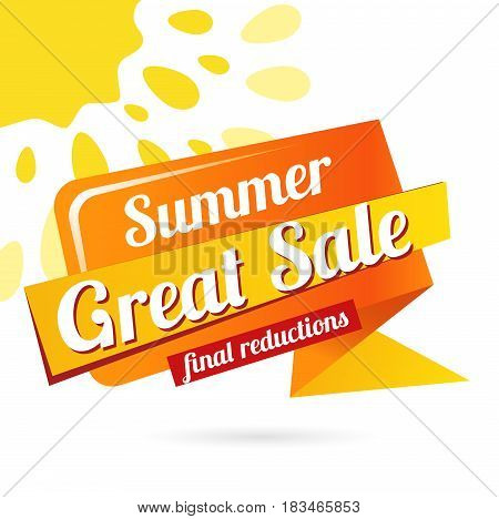 Web Banner Great sale summer. Vector summer background for Your discount. paper bright banner - Great sale summer, final reduction - isolated on white background