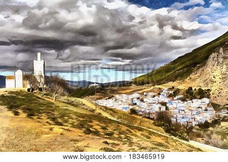 Small old town colorful painting Chefchaouen Chaouen Morocco